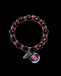 Black Beaded Charm Bracelet