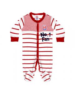 Teddy Striped Sleepsuit