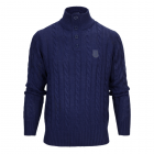 Adult 1/4 Buttoned Cable Knit Jumper